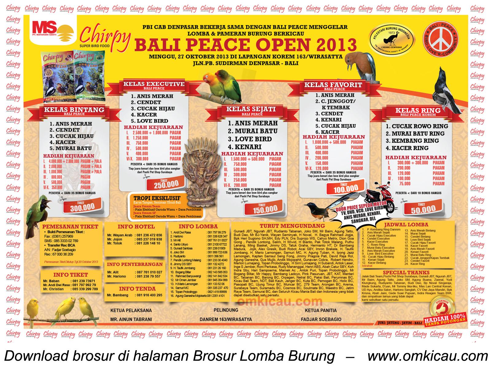 Brosur Lomba Burung Bali Peace Open, Denpasar, 27 Oktober 2013
