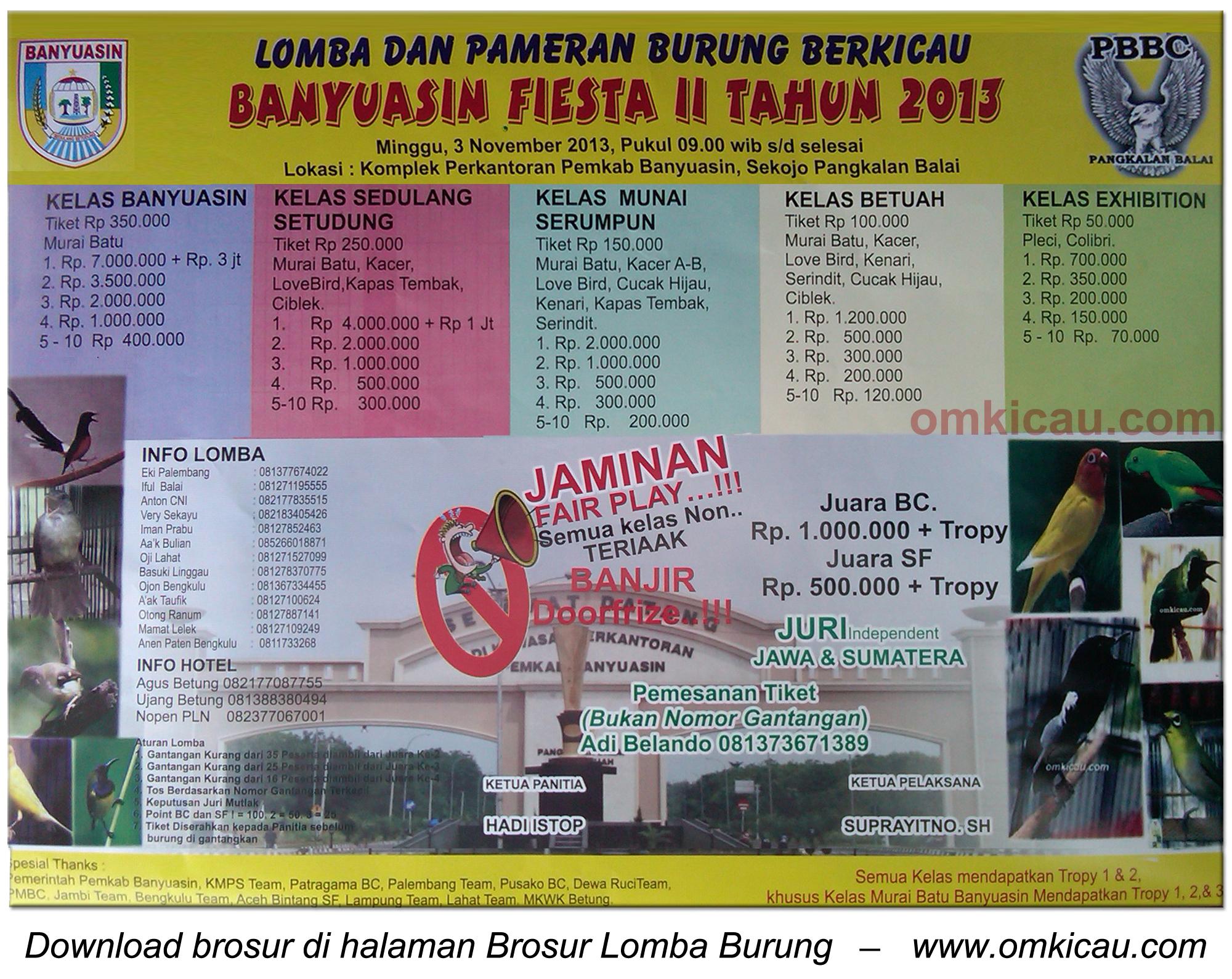 Brosur Lomba Burung Banyuasin Fiesta II, Pangkalan Balai, 3 November 2013