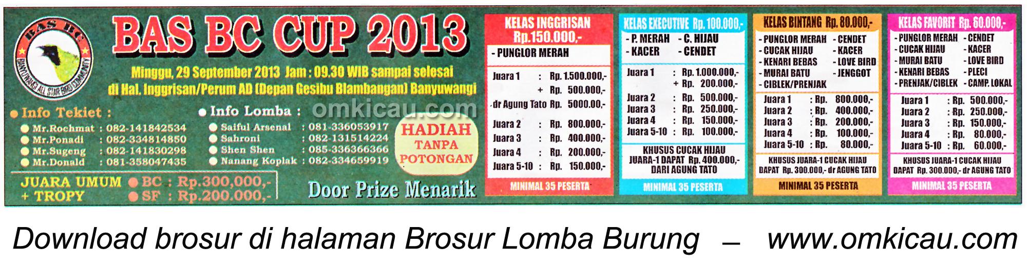 Brosur Lomba Burung Berkicau BAS BC Cup, Banyuwangi, 29 September 2013