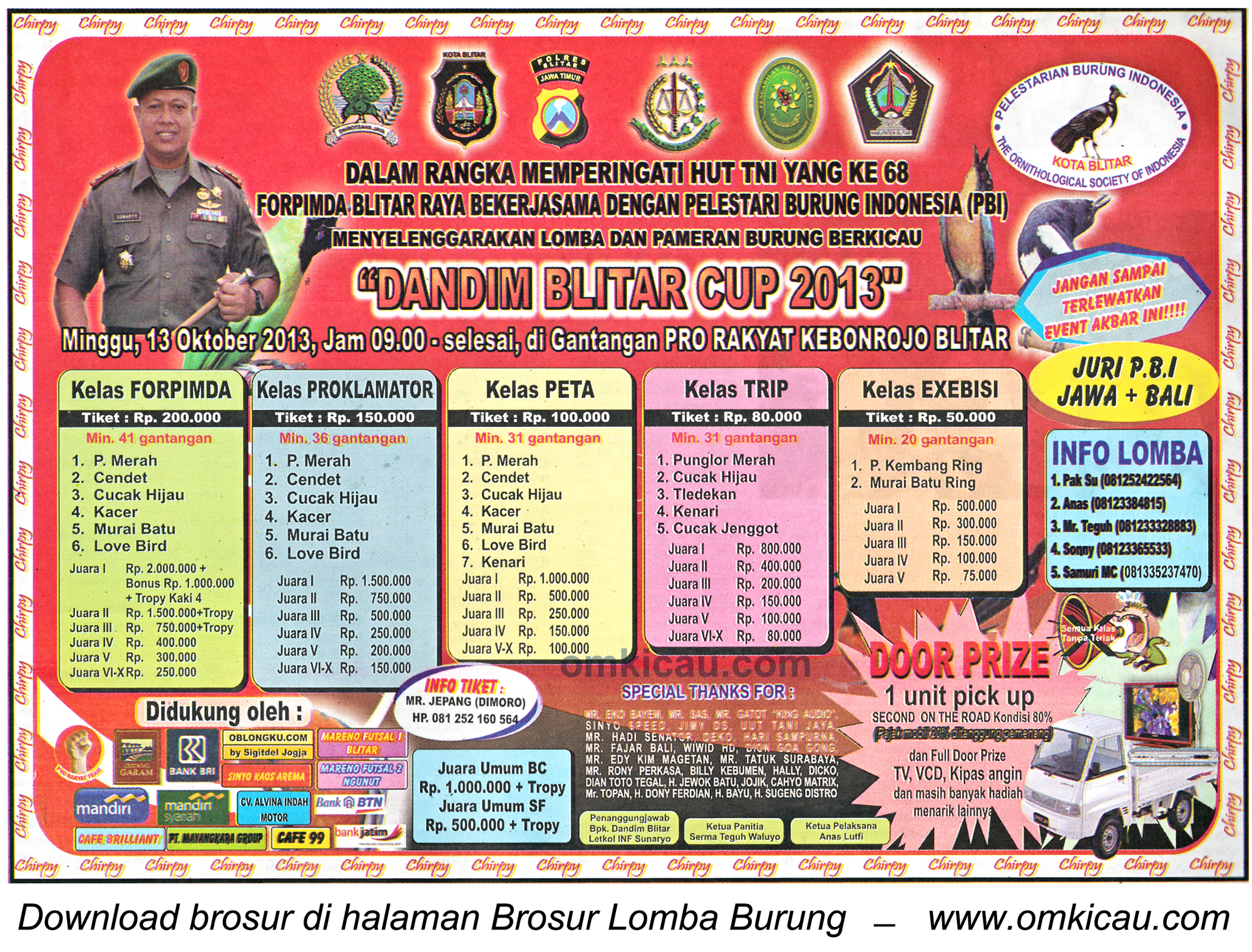 Brosur Lomba Burung Berkicau Dandim Blitar Cup 13 Okt 2013