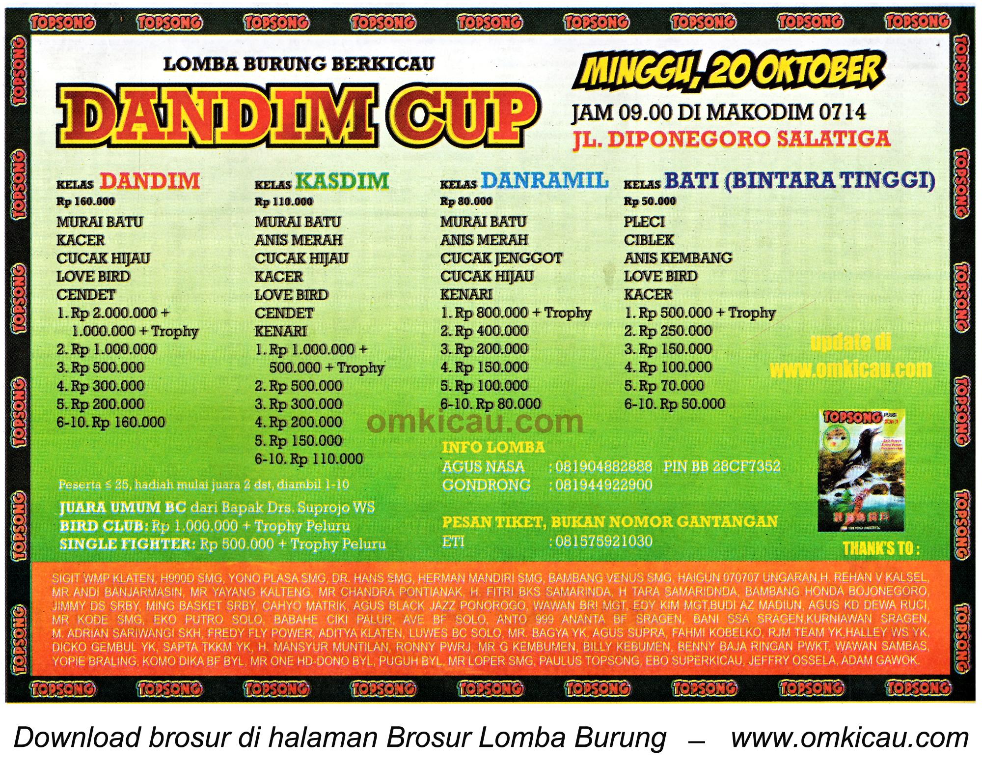 Brosur Lomba Burung Berkicau Dandim Cup, Salatiga, 20 Oktober 2013