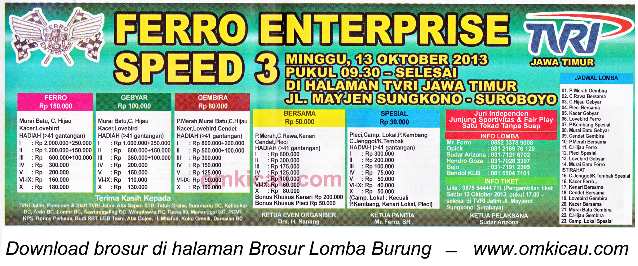 Brosur Lomba Burung Berkicau Ferro Enterprise Speed 3, Surabaya, 13 Oktober 2013