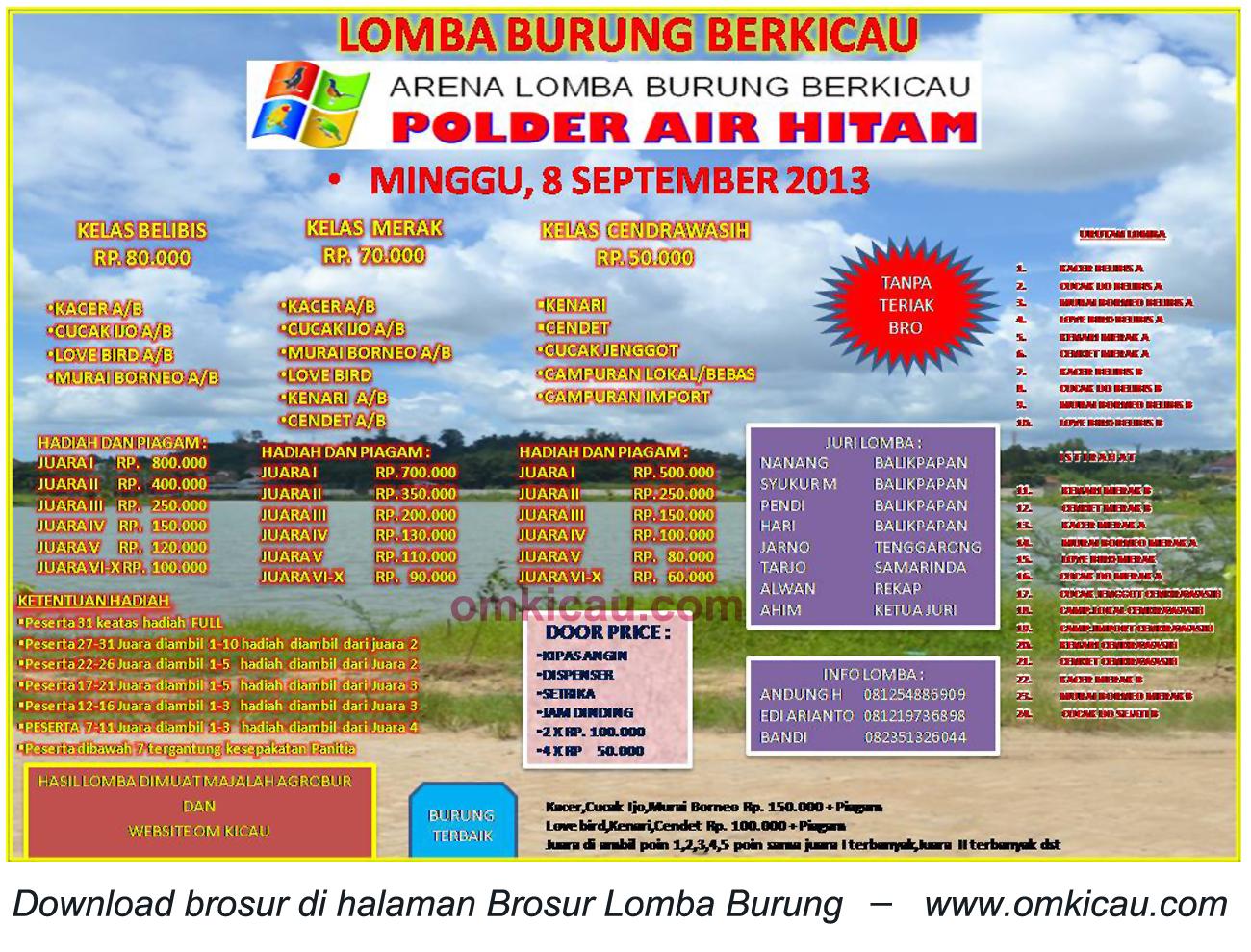 Brosur Lomba Burung Berkicau Polder Air Hitam, Samarinda, 8 September 2013