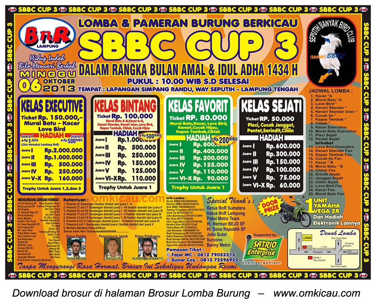 Brosur Lomba Burung Berkicau SBBC Cup 3, Lampung Tengah, 6 Oktober 2013