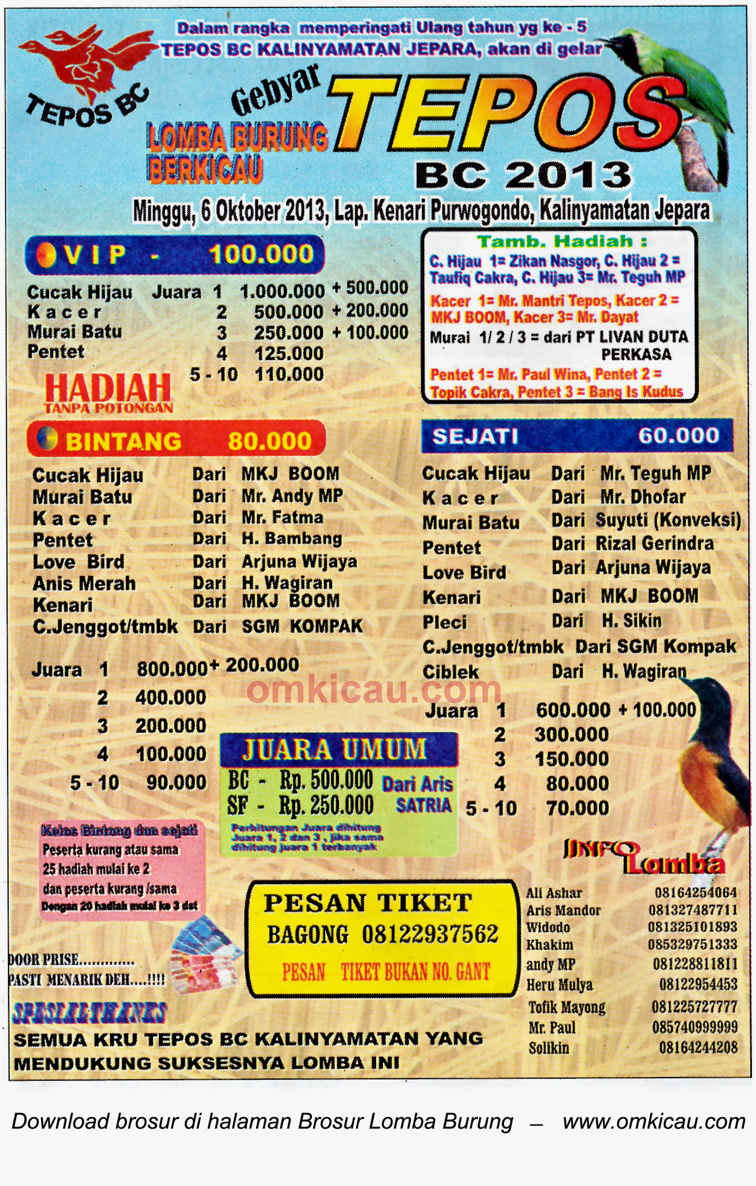 Brosur Lomba Burung Berkicau Tepos BC, Jepara, 6 Oktober 2013