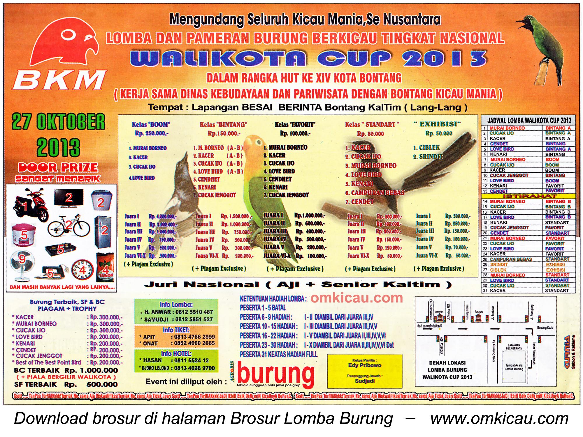 Brosur Lomba Burung Berkicau Wali Kota Cup, Bontang, 27 Oktober 2013