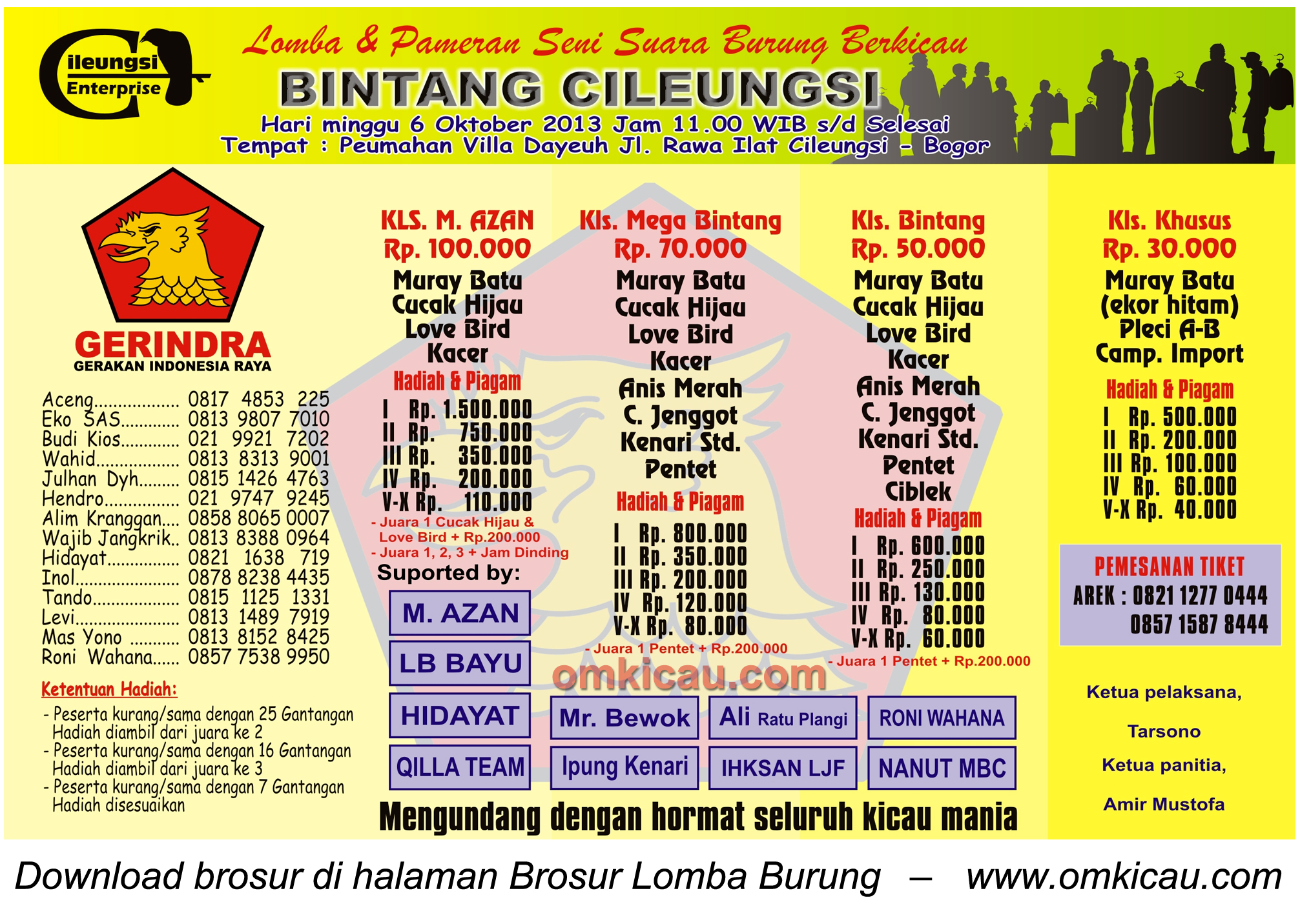 Brosur Lomba Burung Bintang Cileungsi, Bogor, 6 Oktober 2013