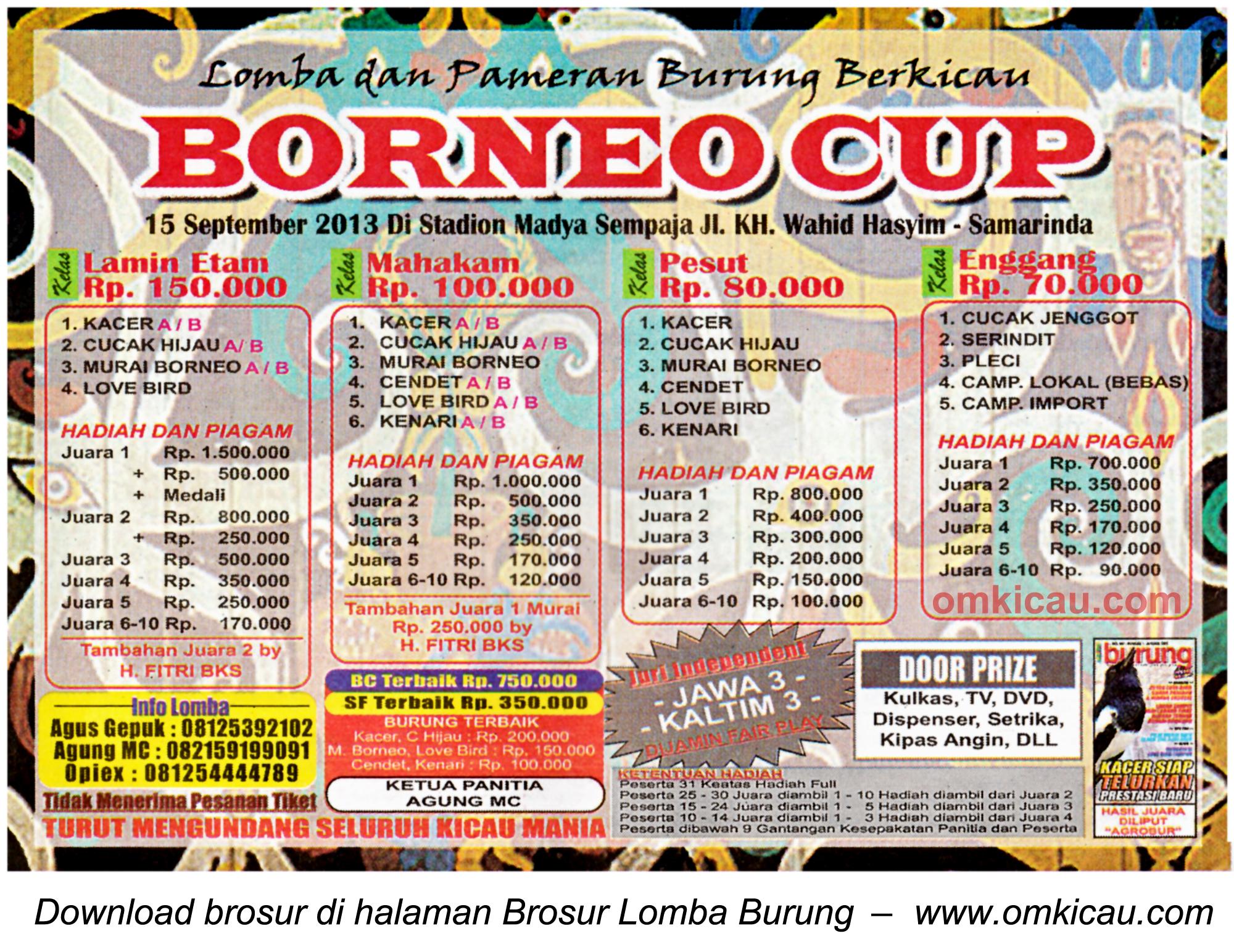 Brosur Lomba Burung Borneo Cup Samarinda 15 Sept 2013