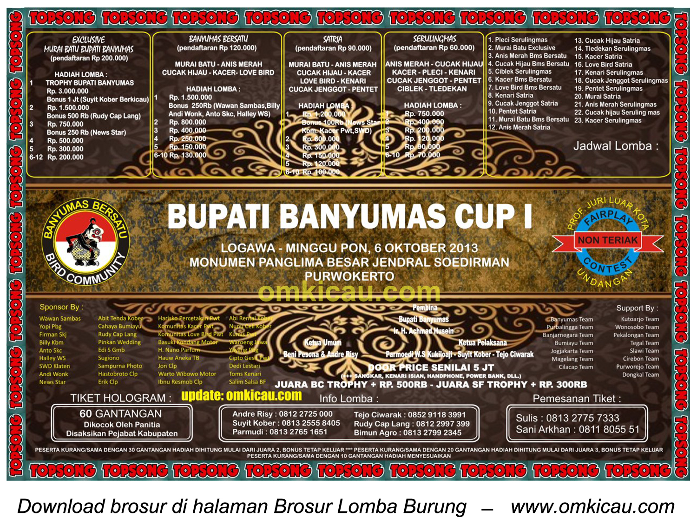 Brosur Lomba Burung Bupati Banyumas Cup I, Purwokerto, 6 Oktober 2013