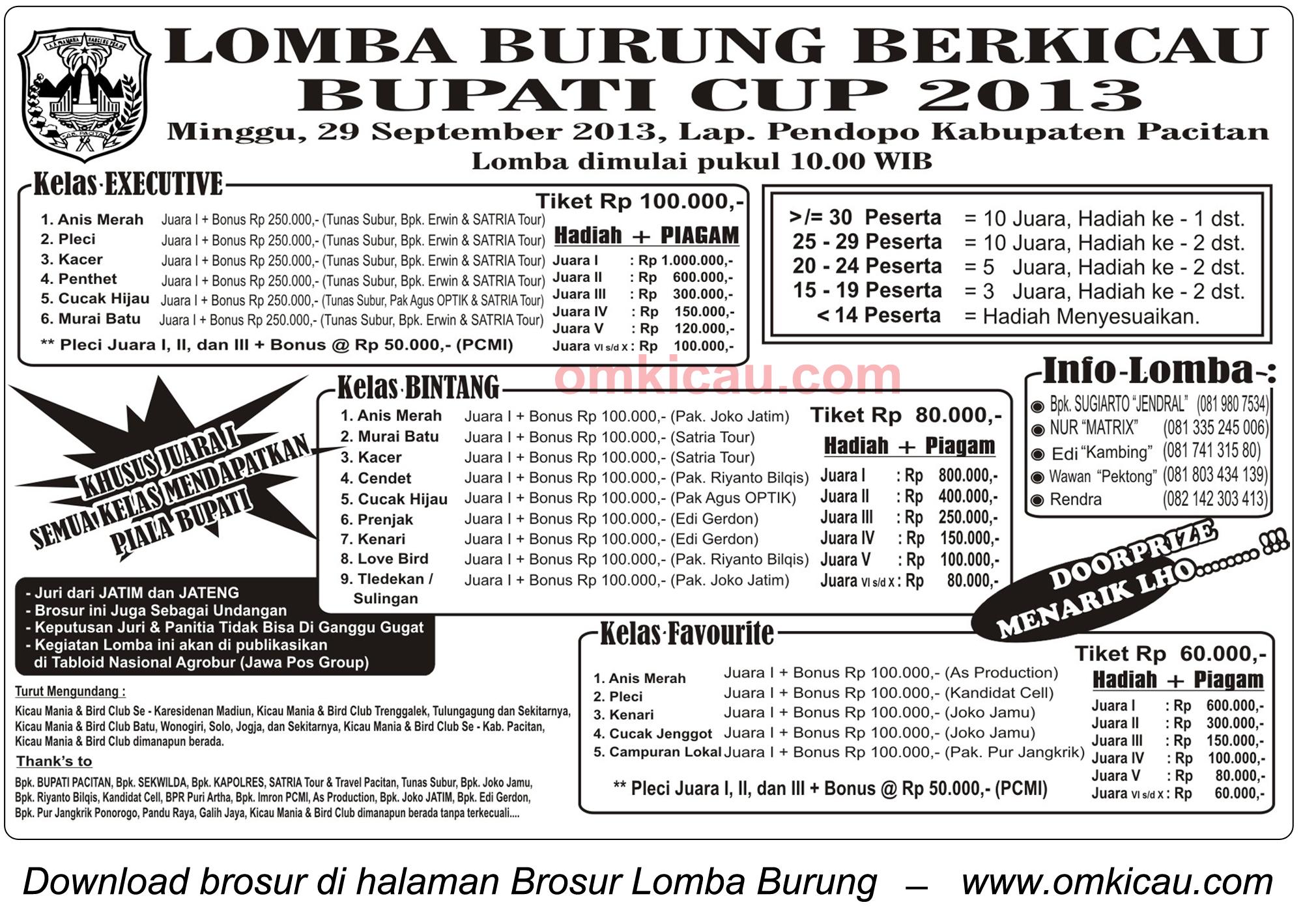 Brosur Lomba Burung Bupati Cup, Pacitan, 29 September 2013