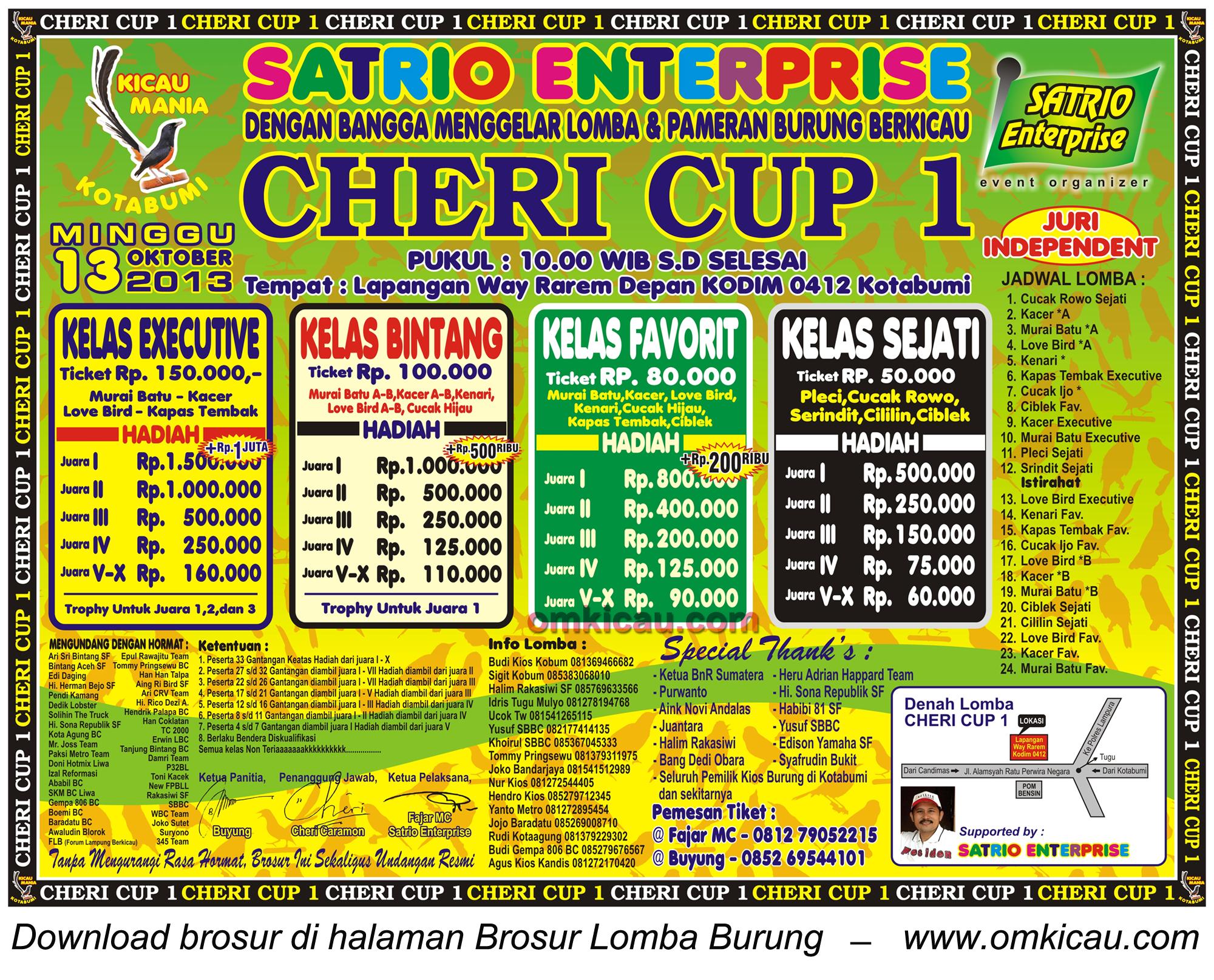 Brosur Lomba Burung Cheri Cup 1 Kotabumi, Lampung Utara, 13 Okt 2013