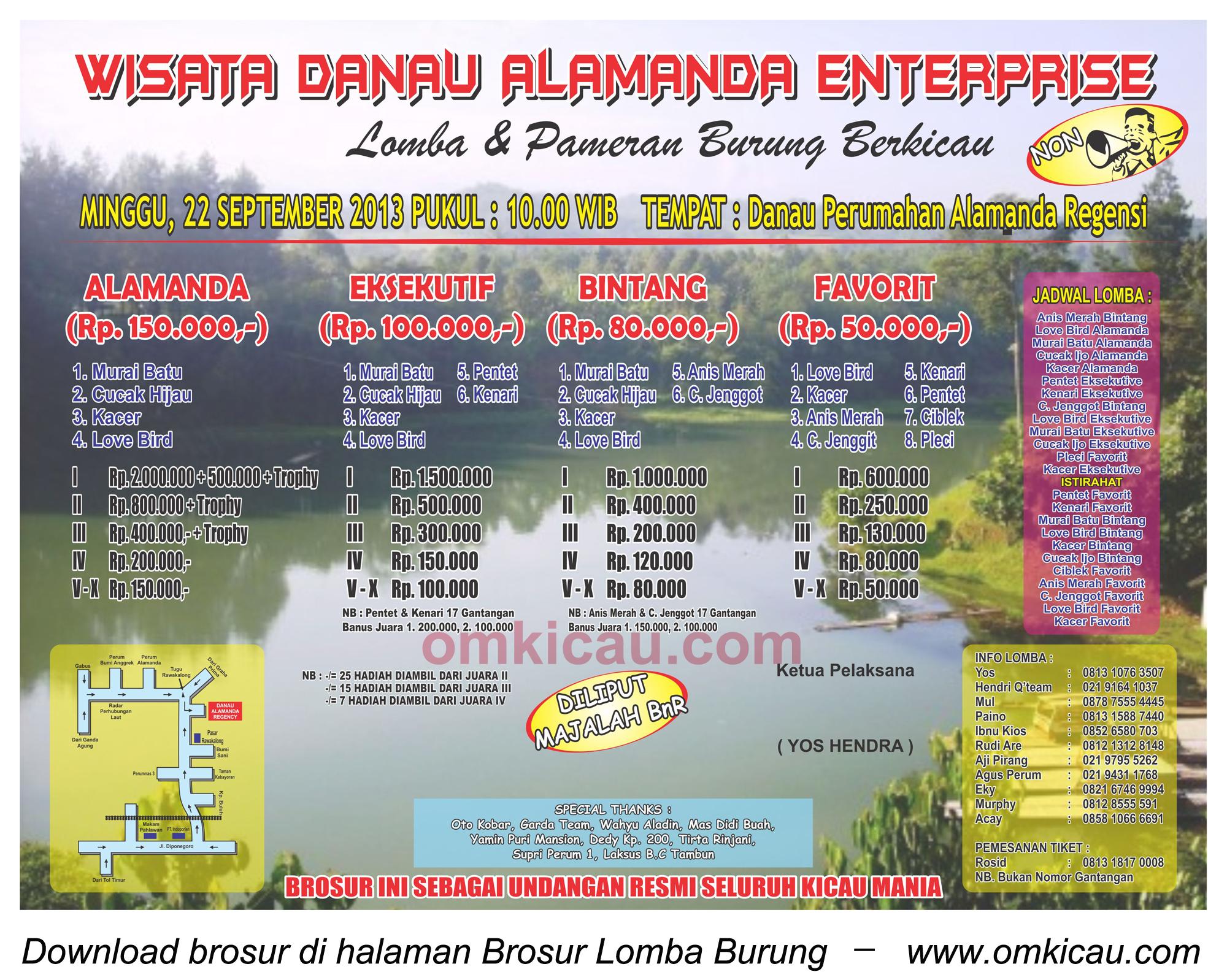 Brosur Lomba Burung Danau Alamanda Ent - Bekasi - 22 Sept 2013