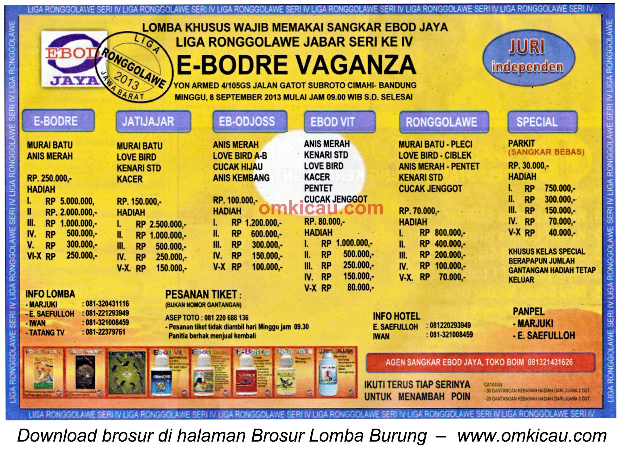 Brosur Lomba Burung E-Bodre Vaganza Bandung 8 Sept 2013
