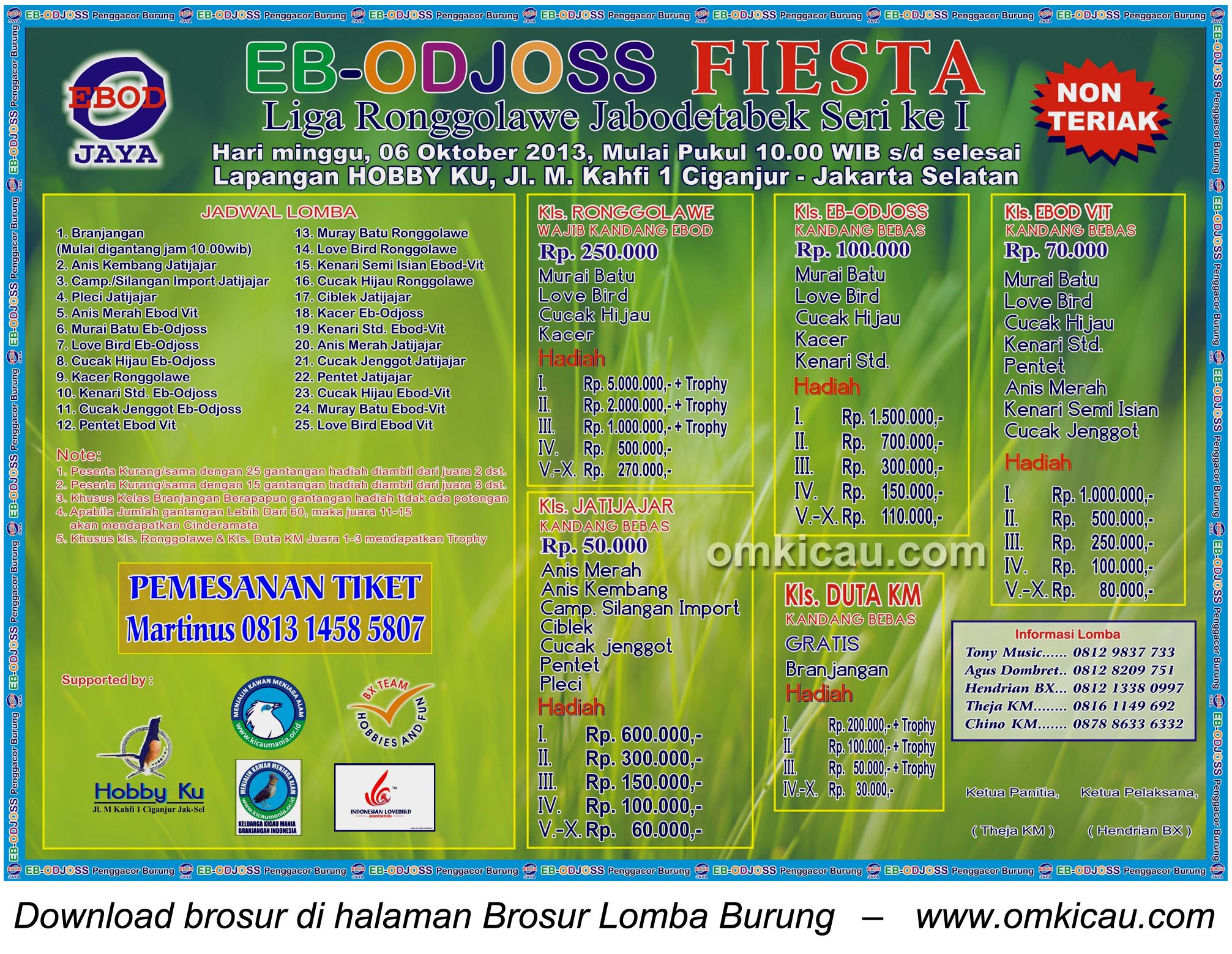 Brosur Lomba Burung EB-Odjoss Fiesta - Jakarta - 6 Oktober 2013