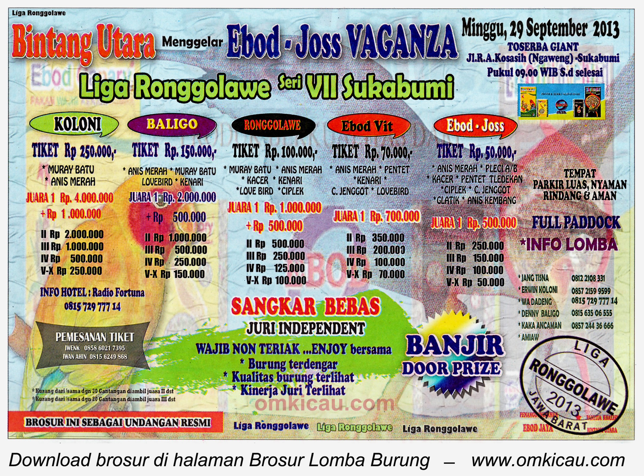 Brosur Lomba Burung Ebod Joss Vaganza (LRJ 7), Sukabumi, 29 September 2913