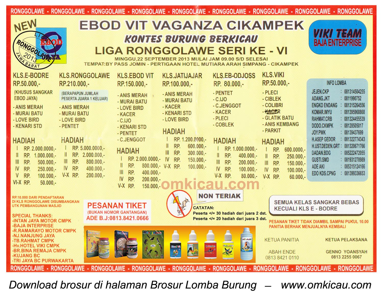 Brosur Lomba Burung Ebod Vit Vaganza - LRJ 6, Cikampek, 22 September 2013