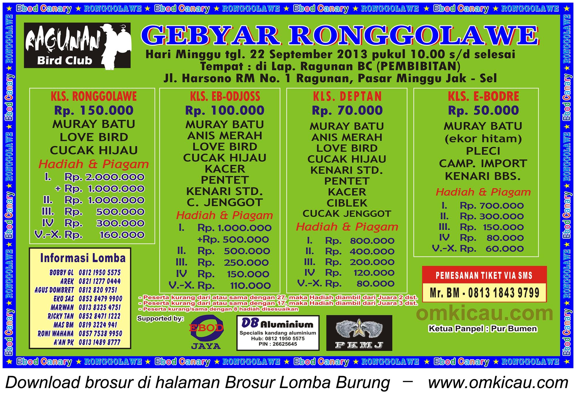 Brosur Lomba Burung Gebyar Ronggolawe - Jakarta - 22 Sept 2013