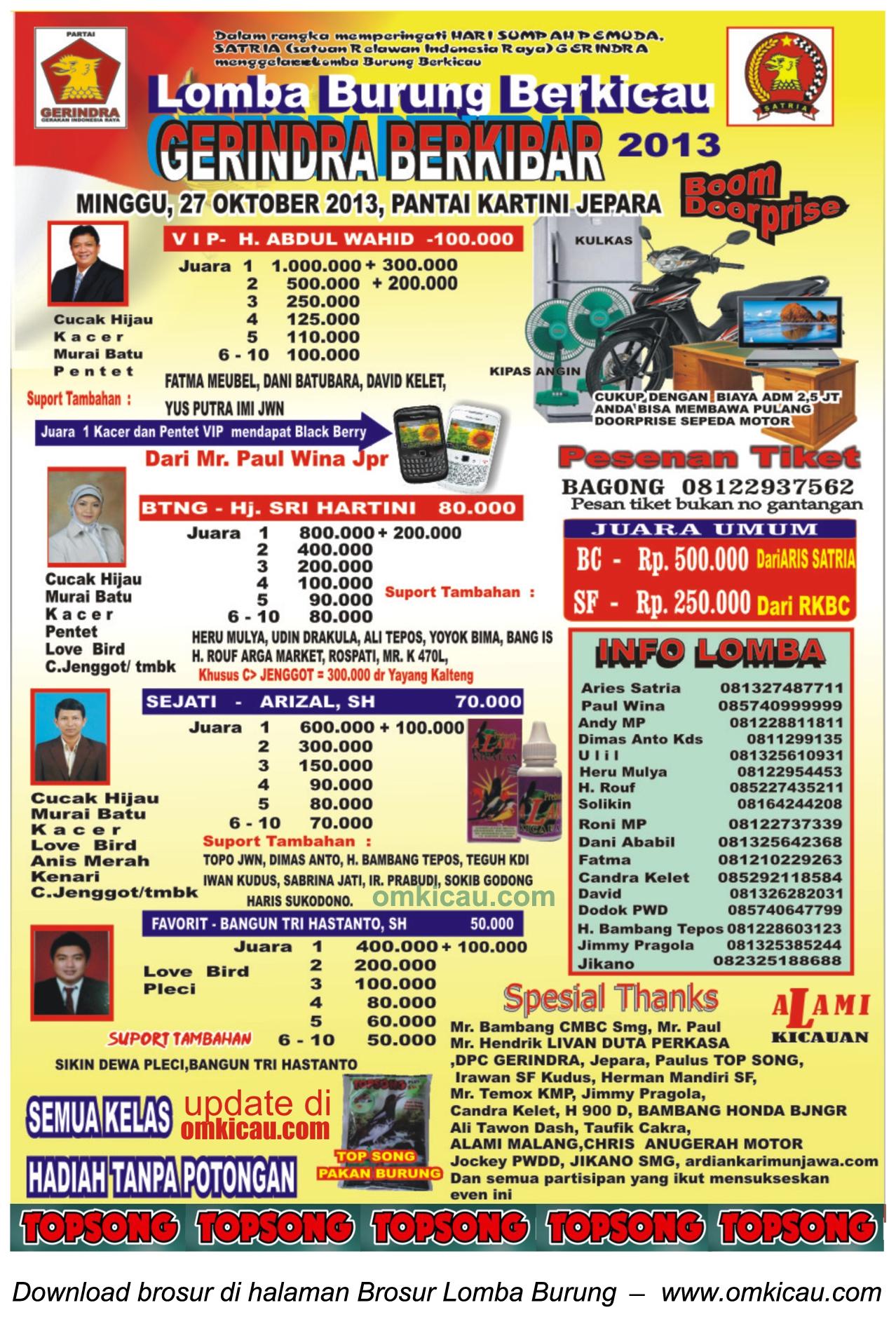 Brosur Lomba Burung Gerindra Berkibar, Jepara, 27 Oktober 2013