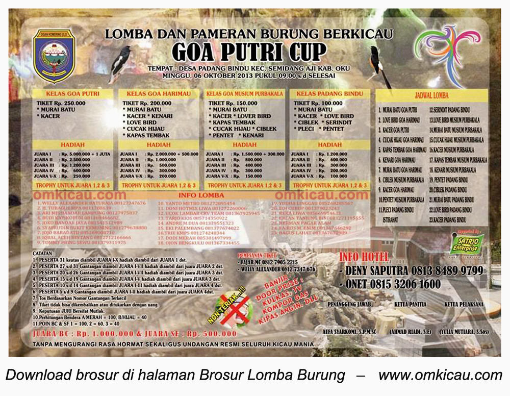 Brosur Lomba Burung Goa Putri Cup, Ogan Komering Ulu, 6 Oktober 2013