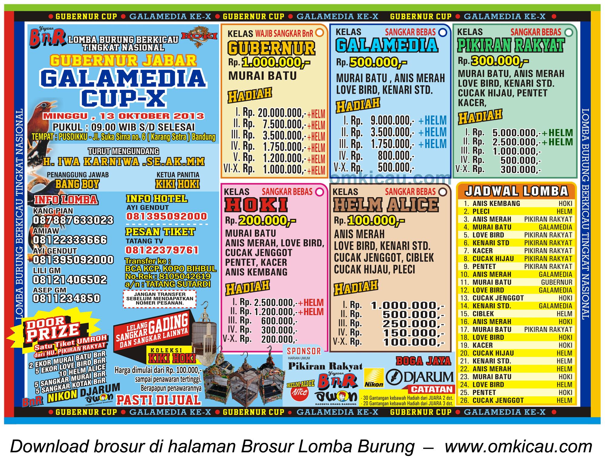 Brosur Lomba Burung Gubenur Jabar - Galamedia Cup X, Bandung, 13 Oktober 2013