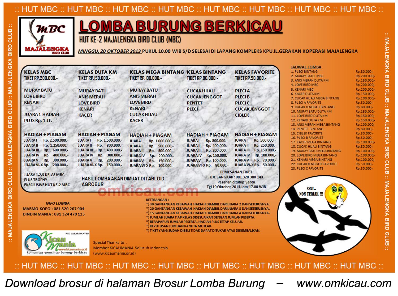 Brosur Lomba Burung HUT Ke-2 Majalengka BC, 20 Oktober 2013