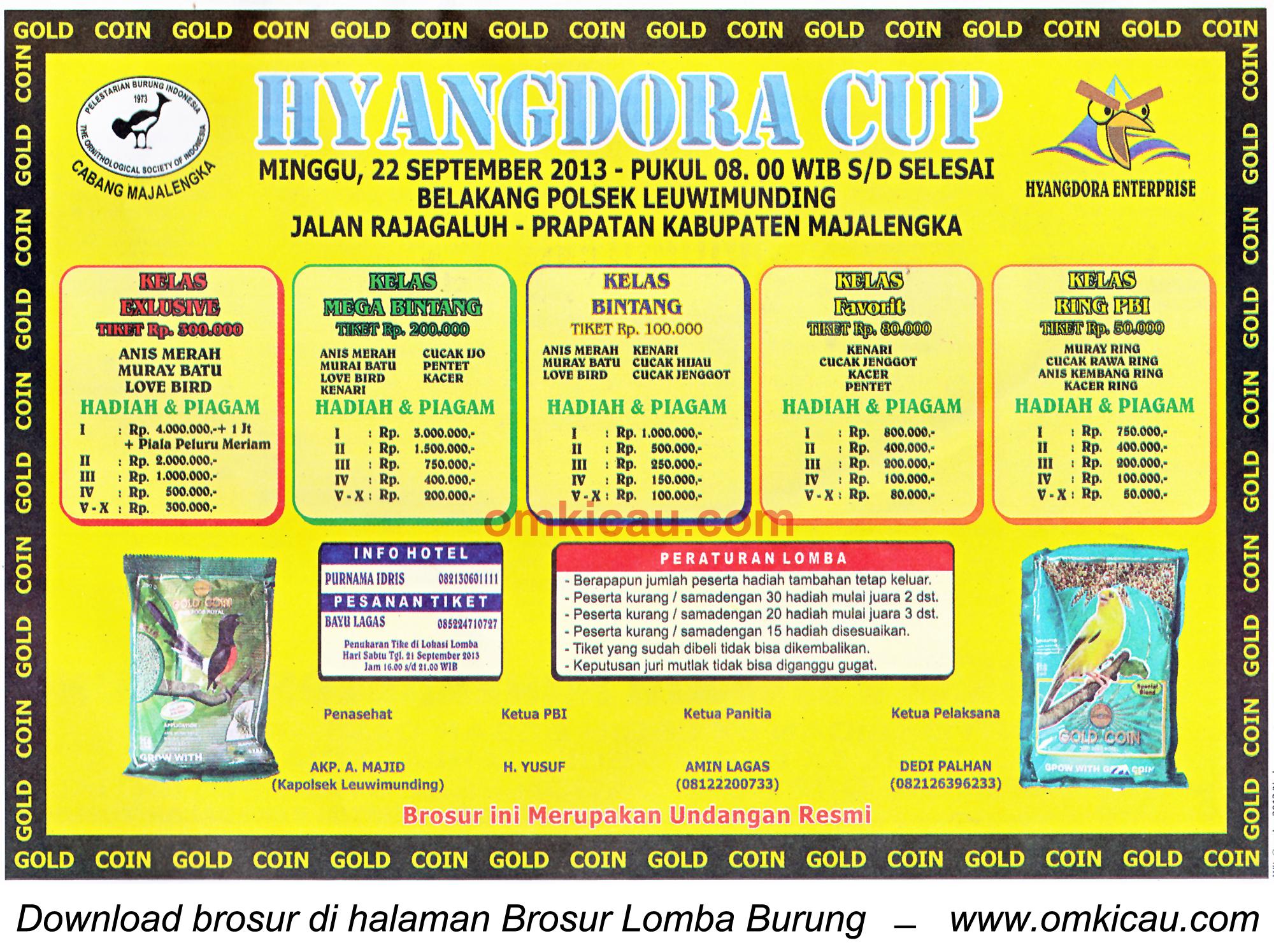 Brosur Lomba Burung Hyangdora Cup Majalengka 22 Sept 2013