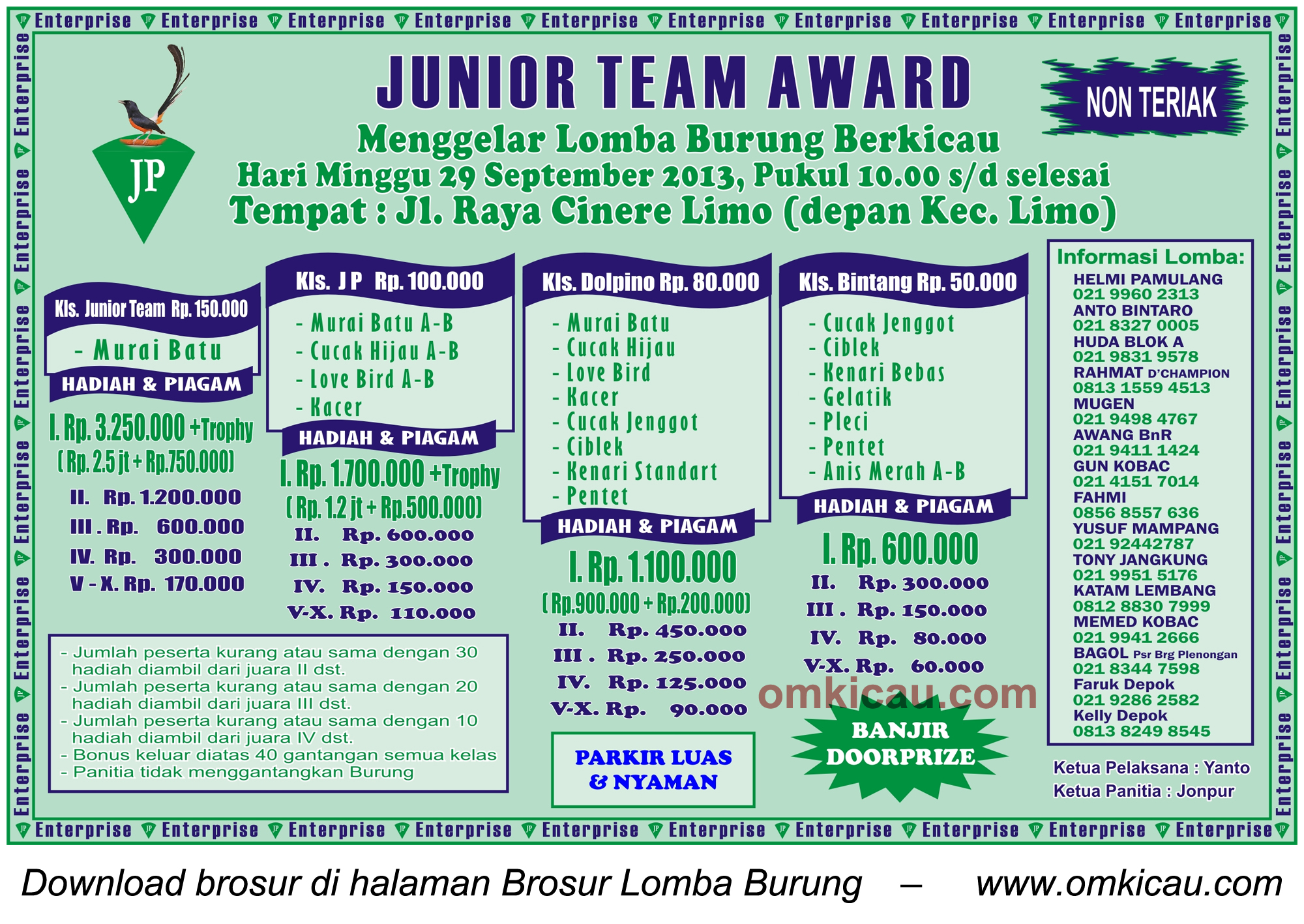 Brosur Lomba Burung Junior Team Award - Depok - 29 Sept 2013