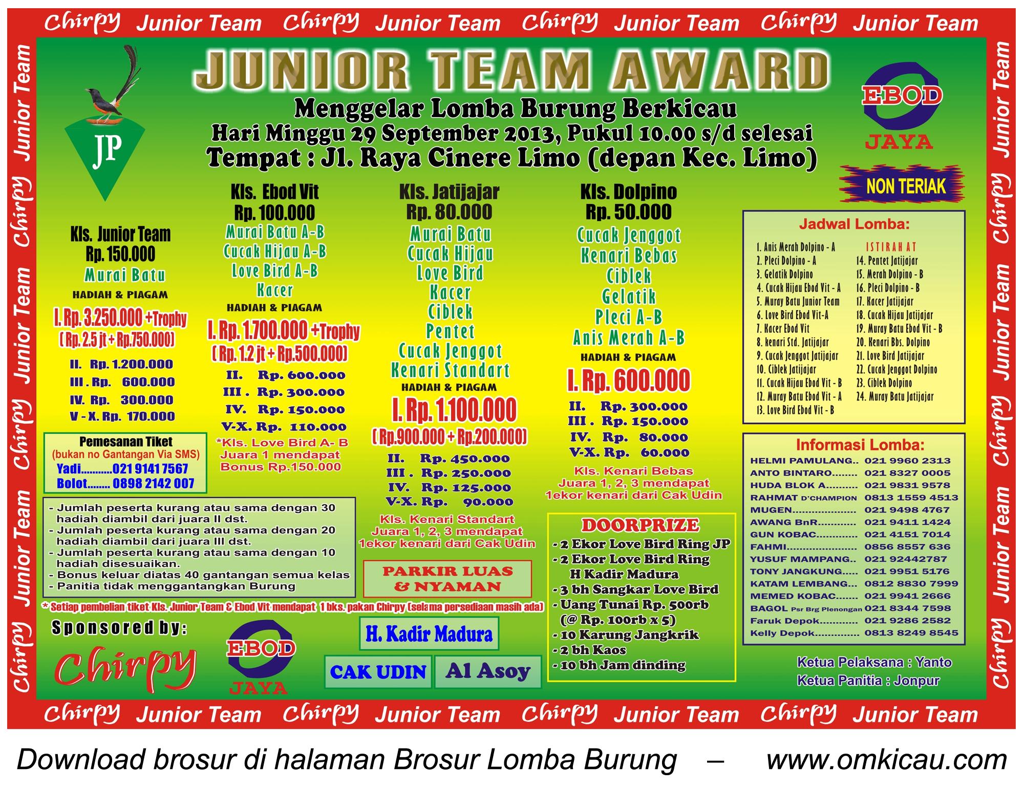 Brosur Lomba Burung Junior Team Award - Depok - 29 Sept 2013
