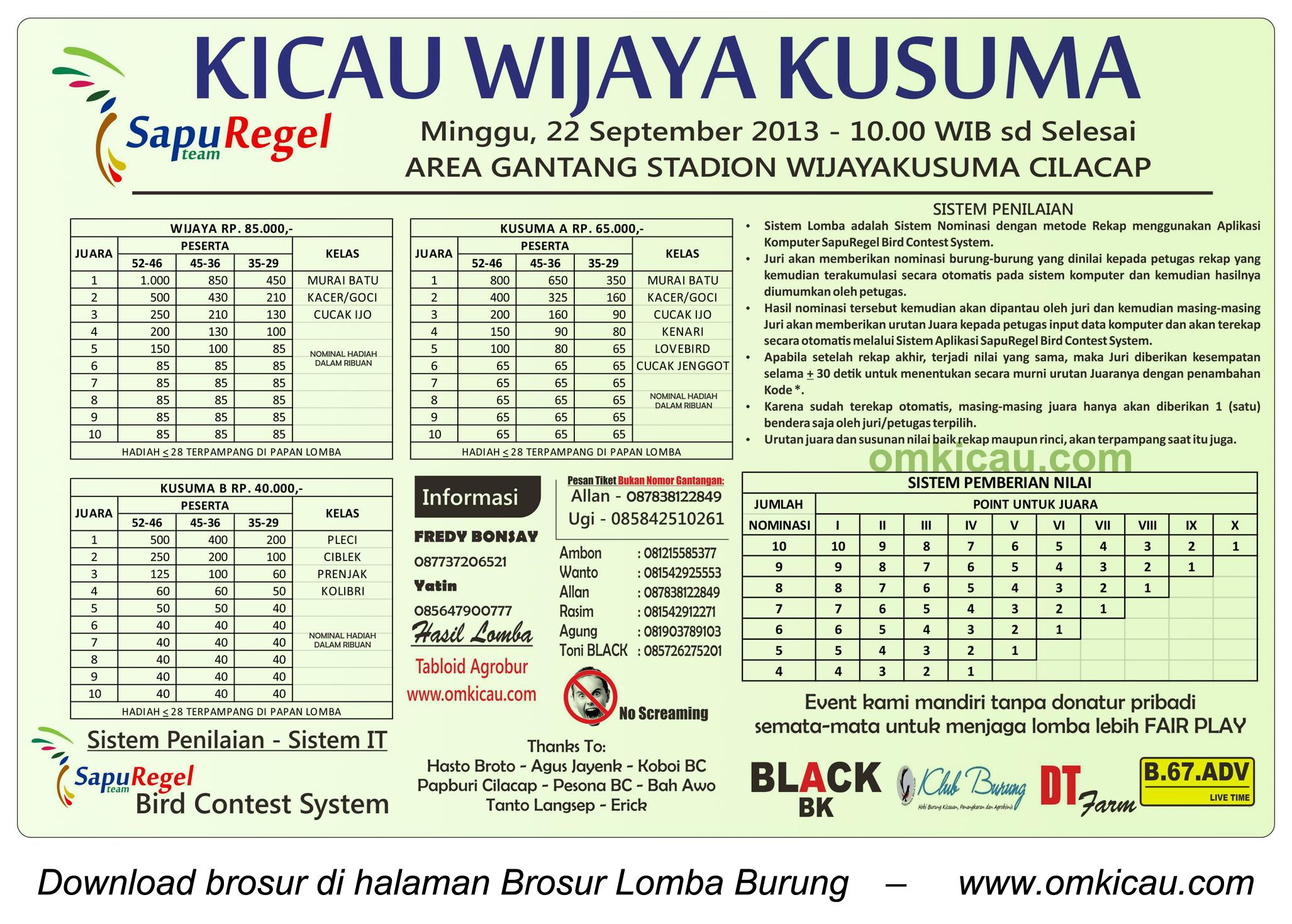 Brosur Lomba Burung Kicau Wijaya Kusuma - SapuRegel - Cilacap - 22 September 2013