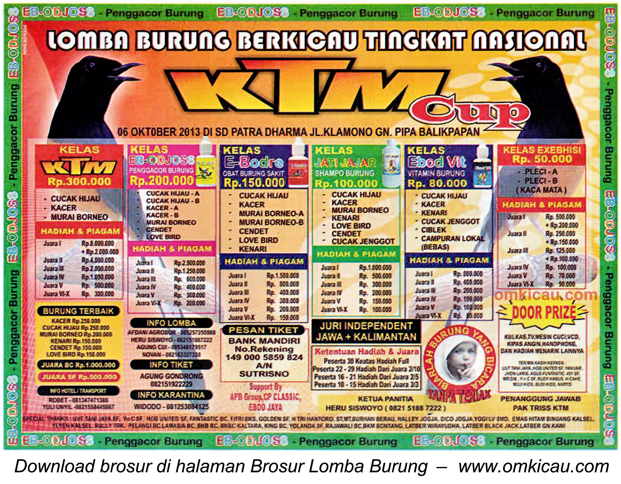 Brosur Lomba Burung KTM Cup Balikpapan 6 Oktober 2013