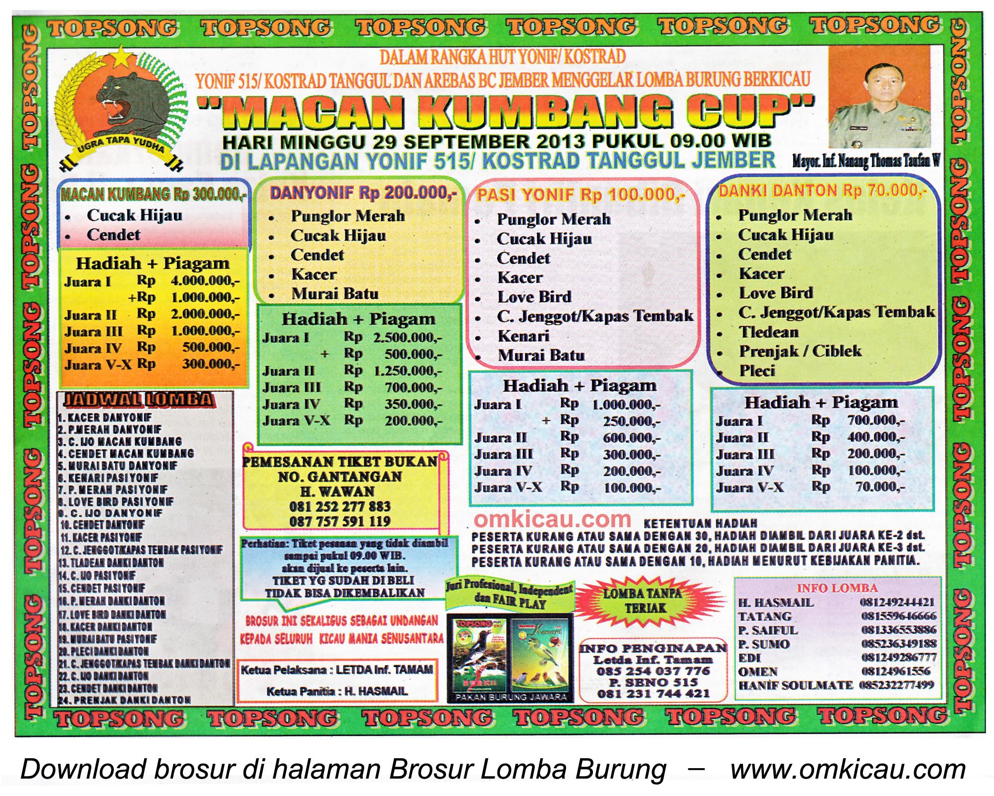 Brosur Lomba Burung Macan Kumbang Cup, Jember, 29 September 2013