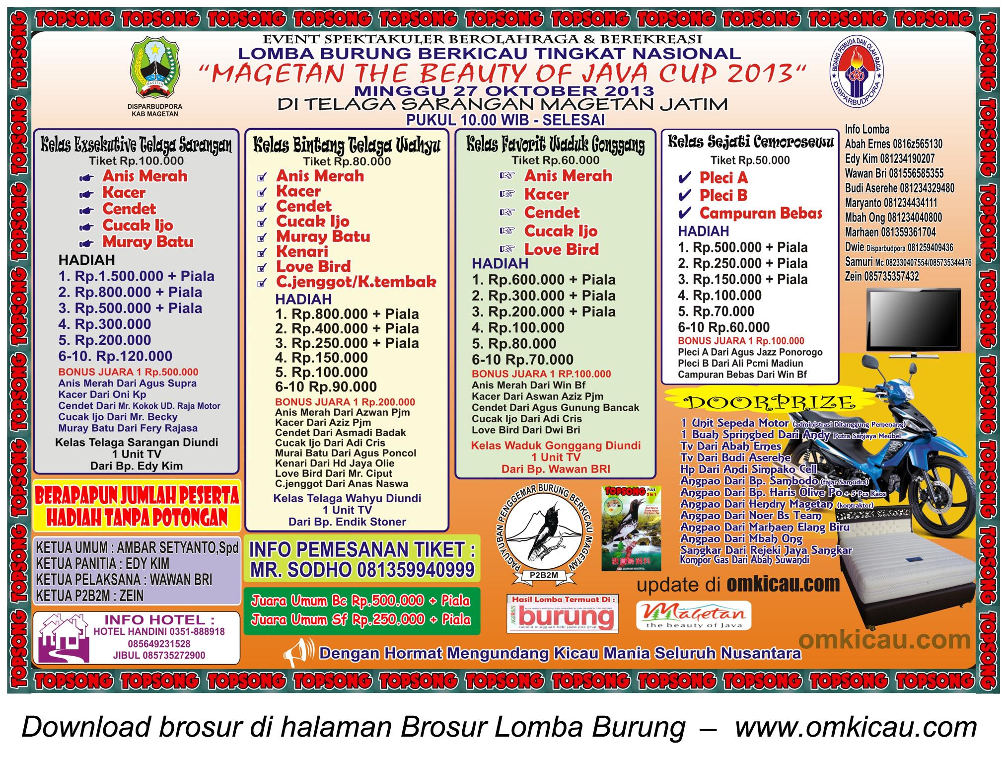Brosur Lomba Burung Magetan The Beauty of Java Cup, 27 Oktober 2013
