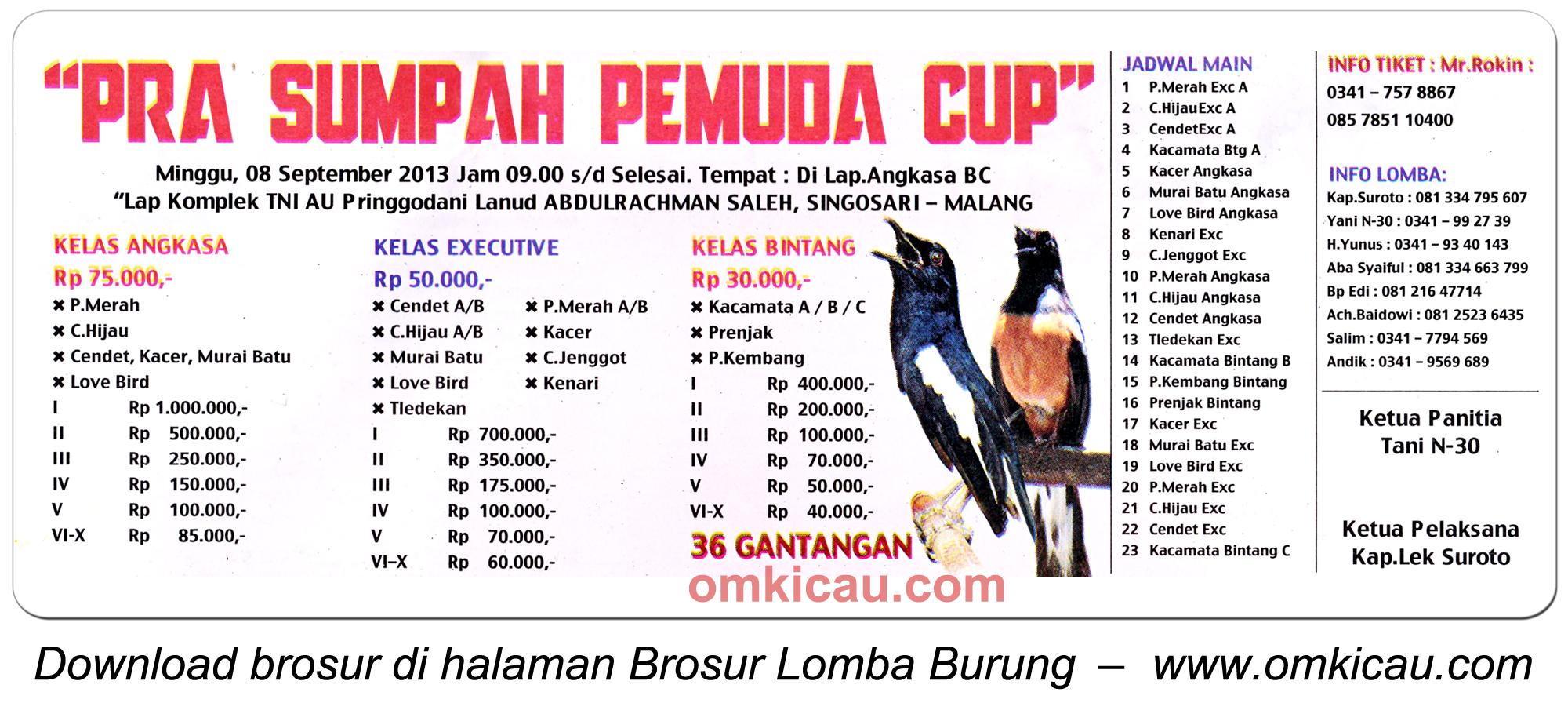 Brosur Lomba Burung Pra Sumpah Pemuda - Malang 8 Sept 2013