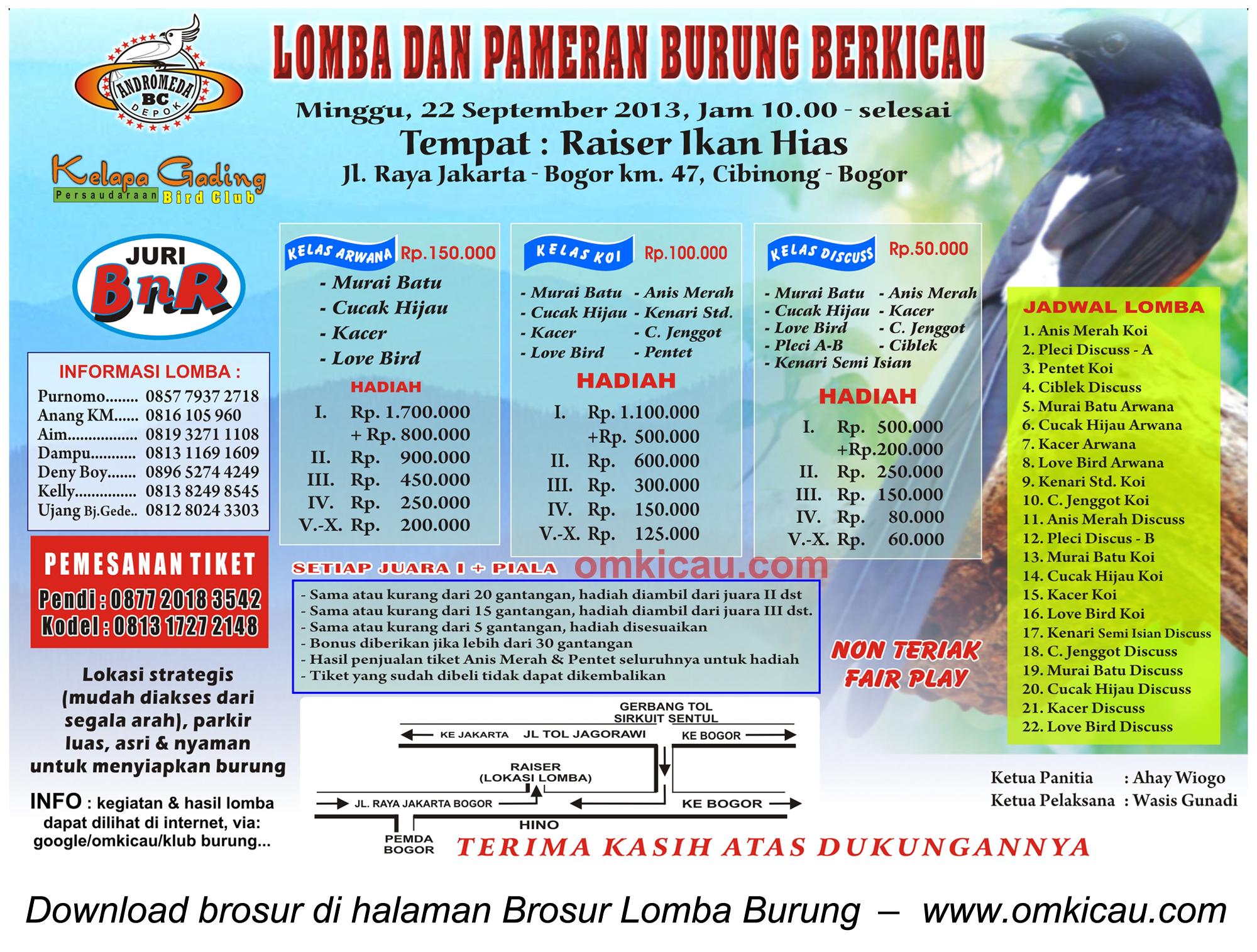 Brosur Lomba Burung Raiser Cibinong, Bogor, 22 Sept 2013
