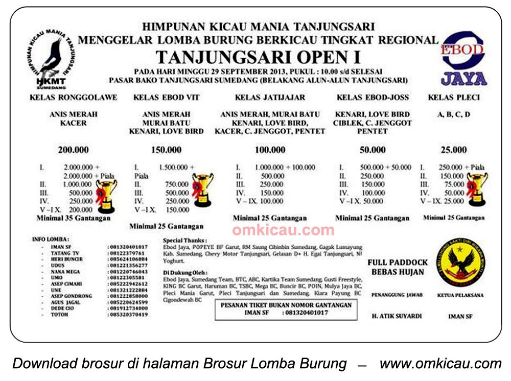 Brosur Lomba Burung Tanjungsari Open I, Sumedang, 29 September 2013