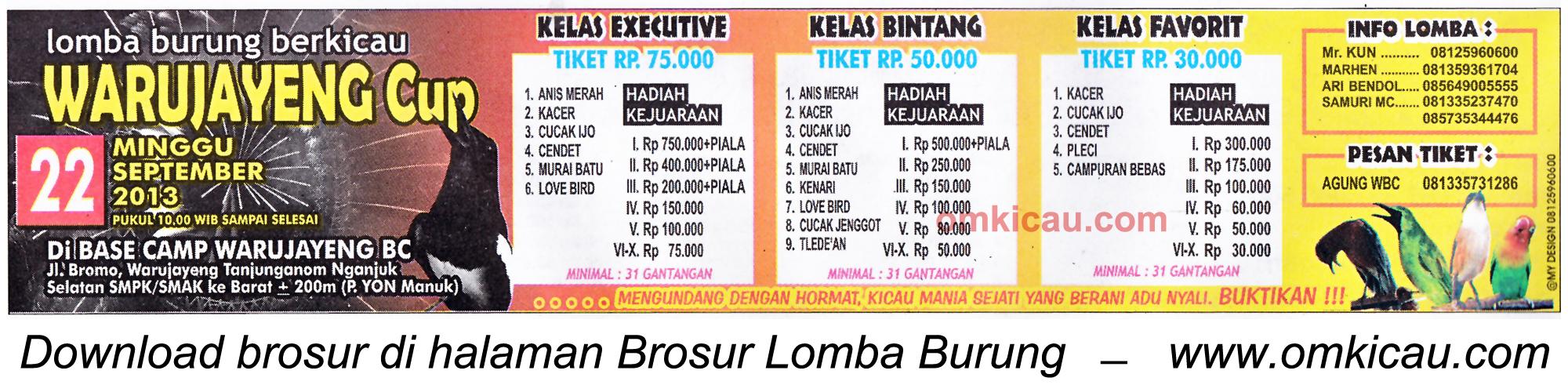 Brosur Lomba Burung Warujayeng Cup - Nganjuk 22 Sept 2013