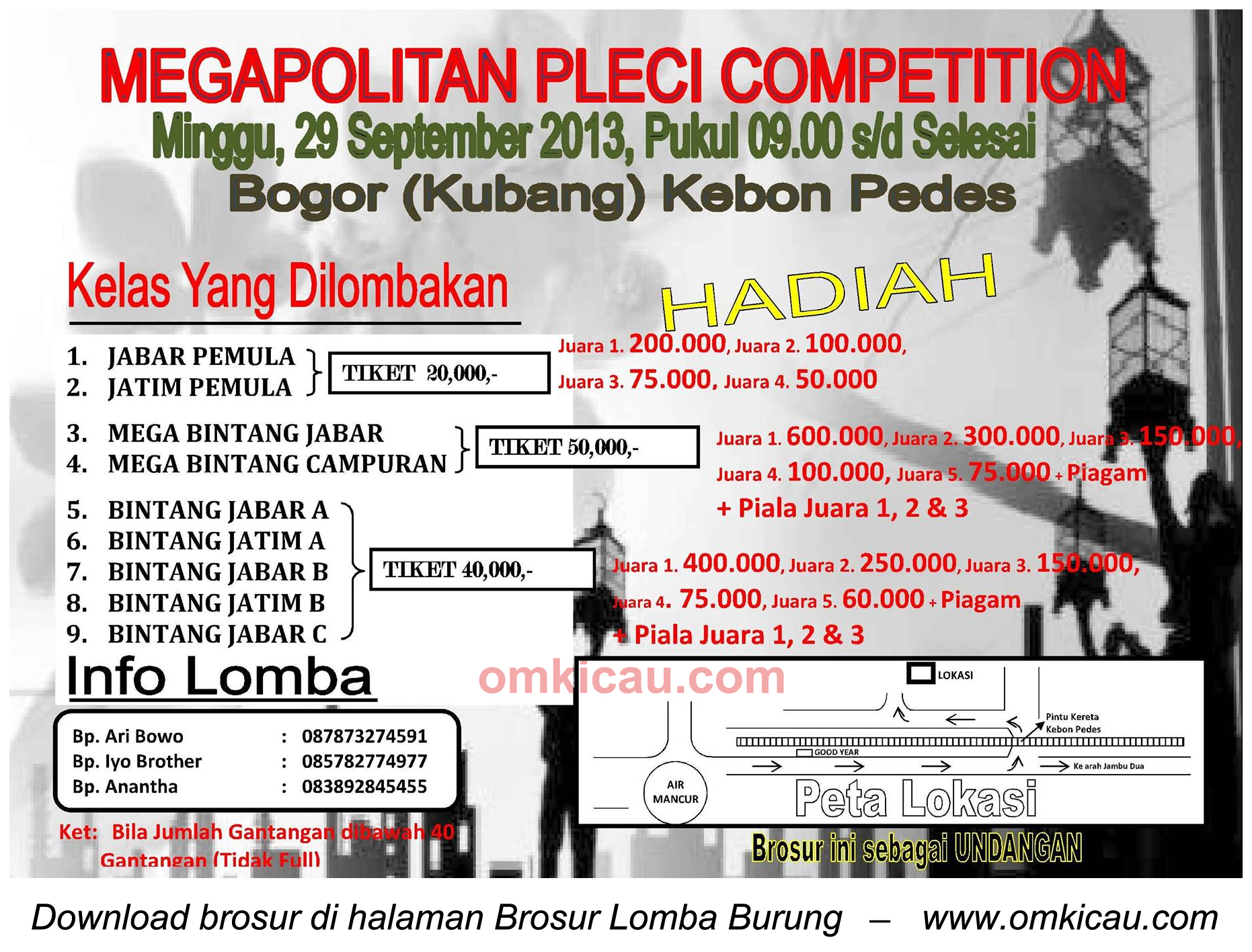 Brosur Megapolitan Pleci Competition, Bogor, 29 September 2013