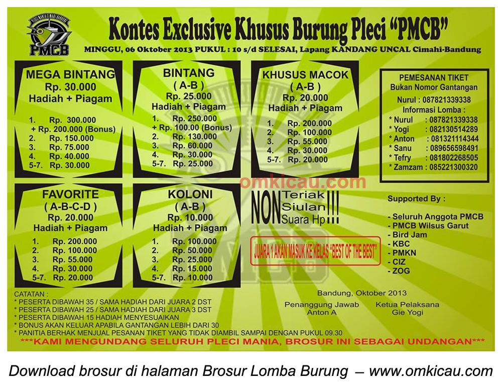 Brosur Kontes Exclusive Burung Pleci PMCB, Bandung, 6 Oktober 2013