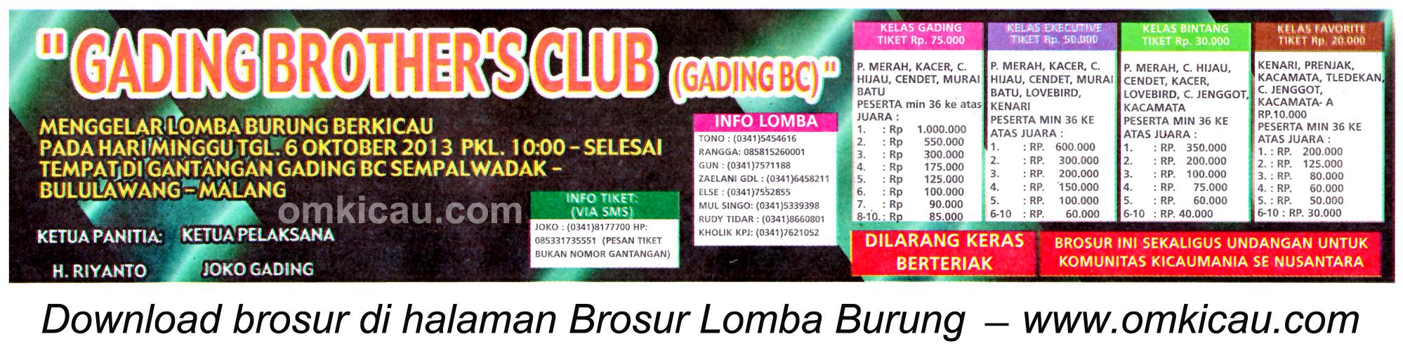 Brosur Latber Burung Berkicau Gading BC Malang 6 Oktober 2013