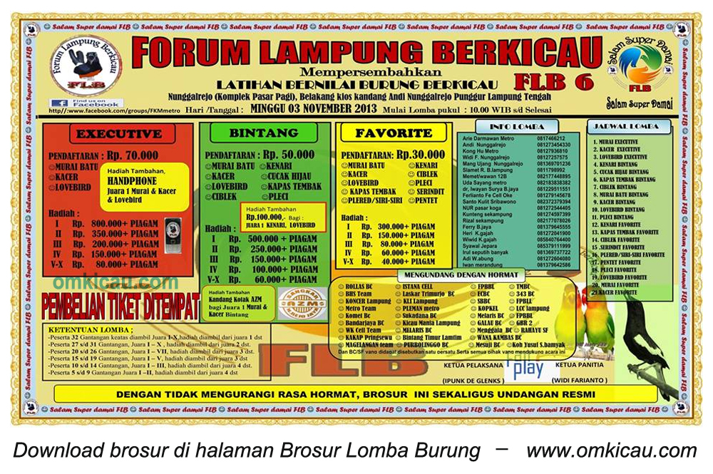 Brosur Latber Forum Lampung Berkicau, Lampung Tengah, 3 November 2013