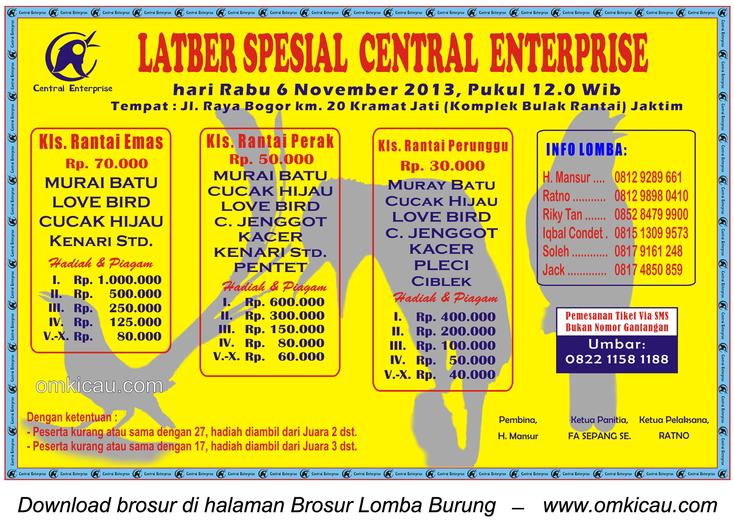 Brosur Latber Spesial Central Enterprise, Jakarta, 6 November 2013