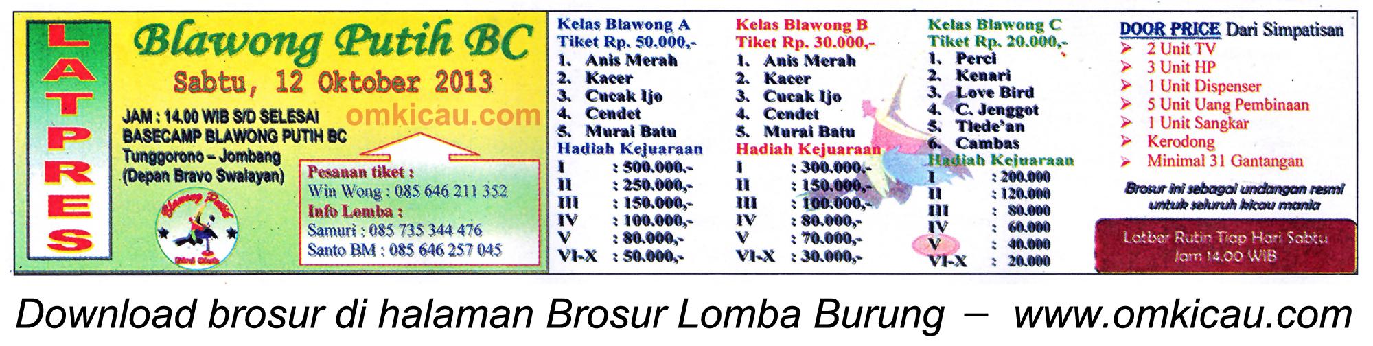 Brosur Latpres Blawong Putih BC, Jombang, 12 Oktober 2013