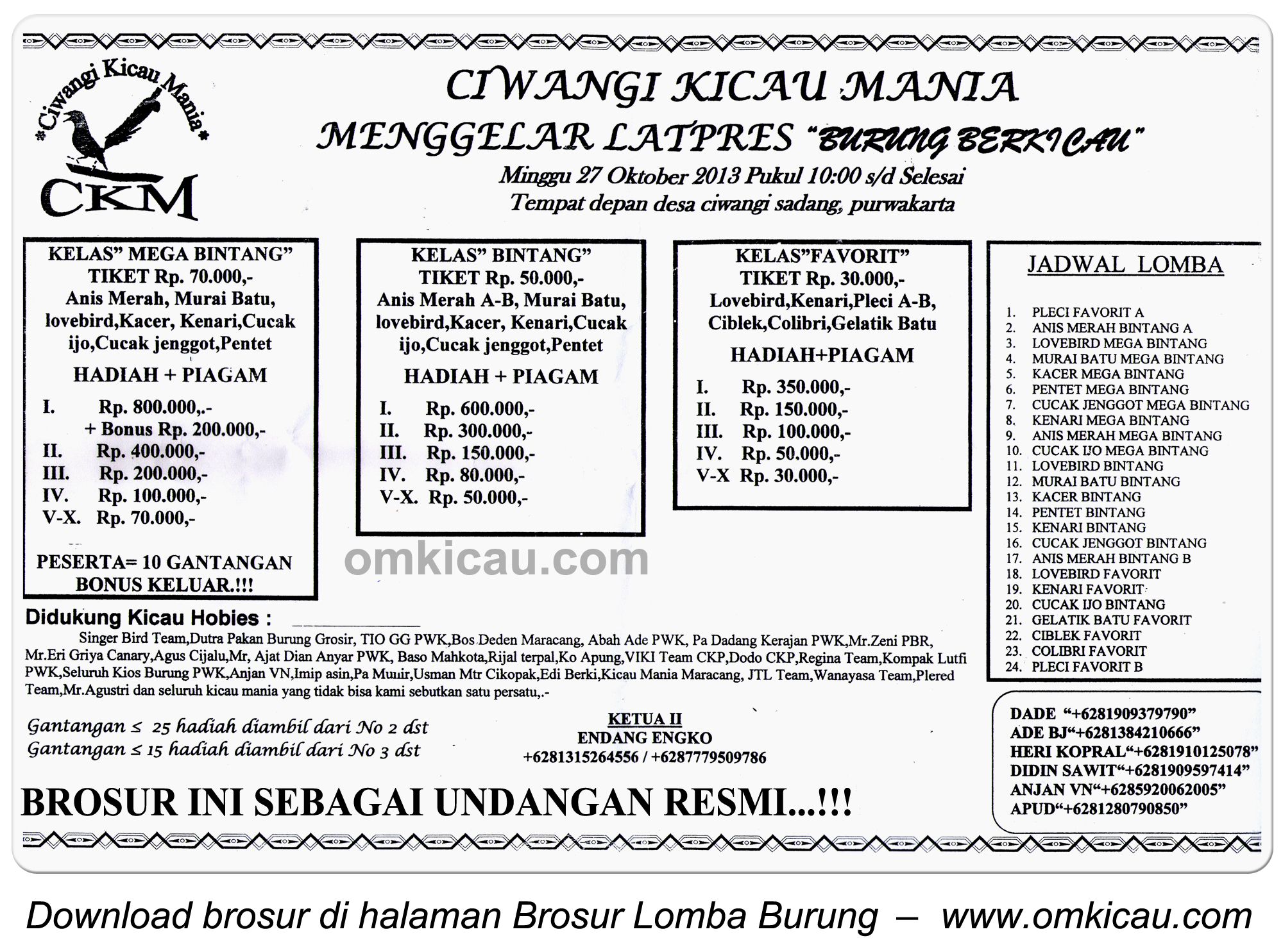 Brosur Latpres Burung Berkicau Ciwangi KM, Purwakarta, 27 Oktober 2013