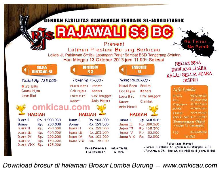 Brosur Latpres Burung Berkicau Rajawali S3 BC, BSD Tangsel, 13 Okt 2013