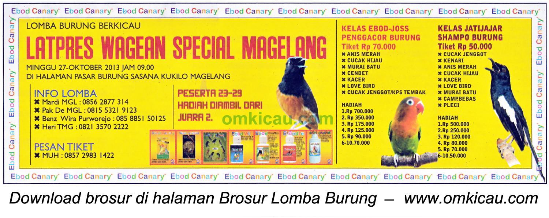 Brosur Latpres Burung Wagean Special, Magelang, 27 Oktober 2013