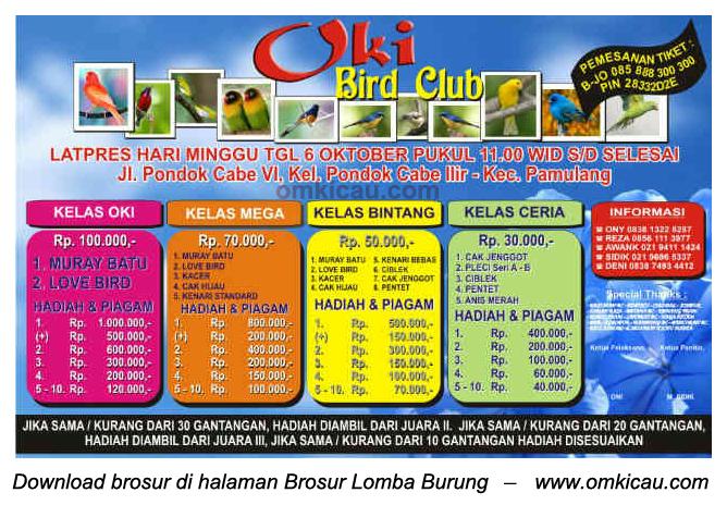 Brosur Latpres OKI Bird Club, Pamulang, 6 Oktober 2013