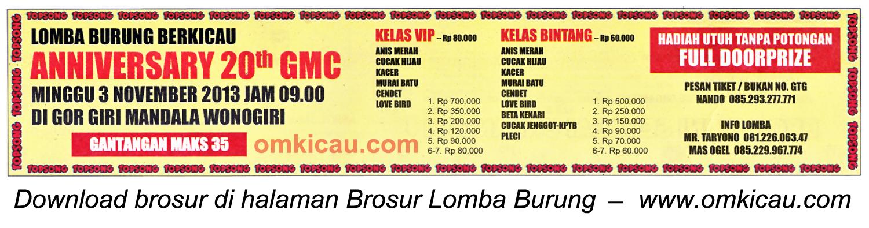 Brosur Lomba Burung Anniversary 20th GMC, Wonogiri, 3 November 2013