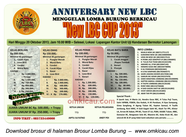 Brosur Lomba Burung Anniversary New LBC Cup 2013, Lamongan, 20 Oktober 2013