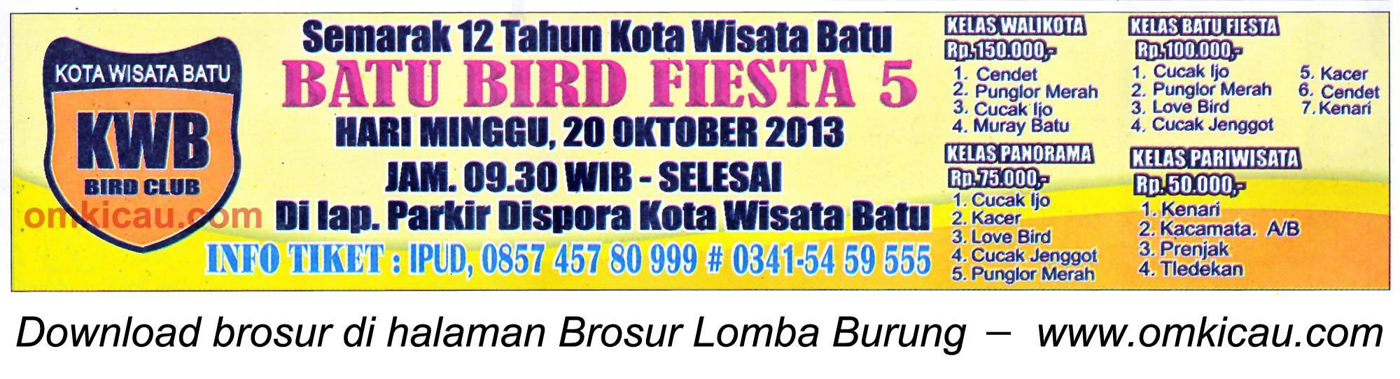 Brosur Lomba Burung Batu Bird Fiesta 5, Batu, 20 Oktober 2013