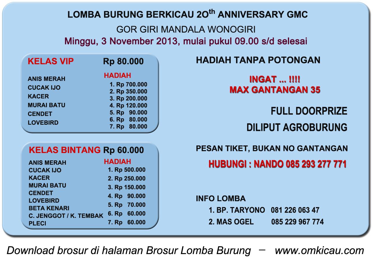 Brosur Lomba Burung Berkicau 20th GMC, Wonogiri, 3 November 2013